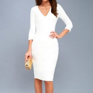 Style And Slay White Bodycon Midi Dress XS